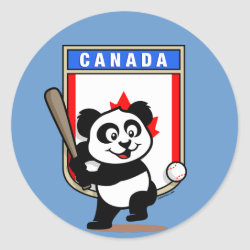 Round Sticker with Canada Baseball Panda design