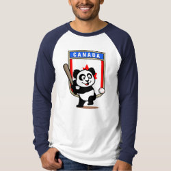 Men's Canvas Long Sleeve Raglan T-Shirt with Canada Baseball Panda design