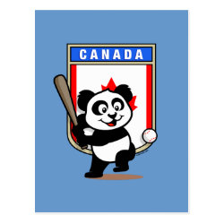 Postcard with Canada Baseball Panda design