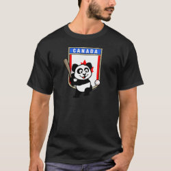 Men's Basic Dark T-Shirt with Canada Baseball Panda design