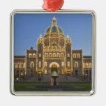 Canada, BC, Victoria, BC Legislature Building at Square Metal Christmas Ornament