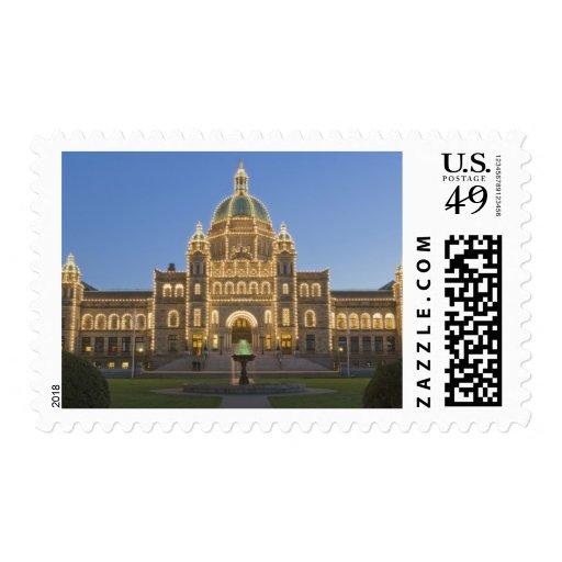 Canada, BC, Victoria, BC Legislature Building at Postage Stamp
