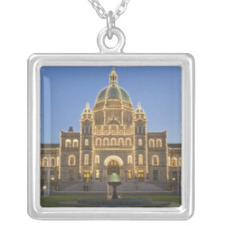 Canada, BC, Victoria, BC Legislature Building at Silver Plated Necklace