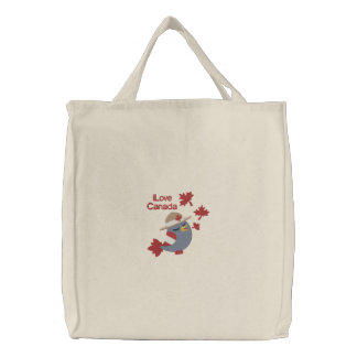 Canada Bird Mountie Embroidered Tote Bag