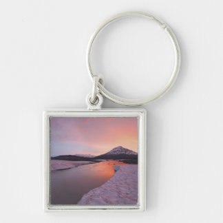 Canada, British Columbia, Alsek River Valley. Silver-Colored Square Keychain