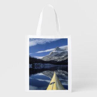 Canada, British Columbia, Banff. Kayak bow on Grocery Bag