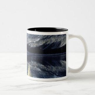 Canada, British Columbia, Banff. Kayak bow on Two-Tone Coffee Mug