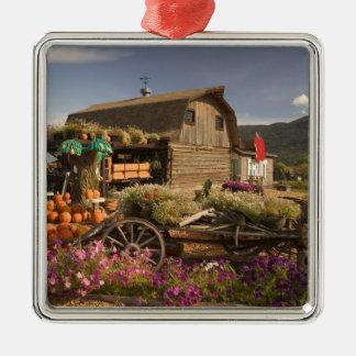 CANADA, British Columbia, Enderby. Log Barn Metal Ornament