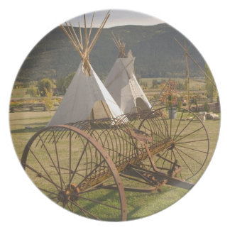 CANADA, British Columbia, Enderby. Tepees & Melamine Plate