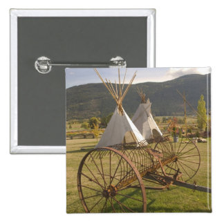 CANADA, British Columbia, Enderby. Tepees & Pinback Button