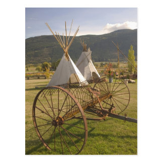 CANADA, British Columbia, Enderby. Tepees & Postcard