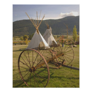 CANADA, British Columbia, Enderby. Tepees & Poster