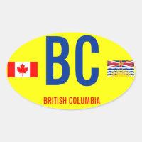 Canada, British Columbia* Euro-style Oval stcker Oval Sticker