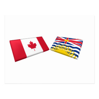 Canada & British Columbia Flag Tiles Postcards
