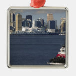 Canada, British Columbia, Vancouver. Downtown Square Metal Christmas Ornament