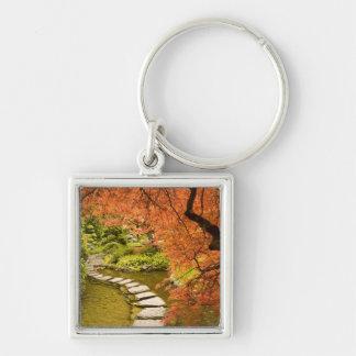 CANADA, British Columbia, Victoria. Autumn Silver-Colored Square Keychain