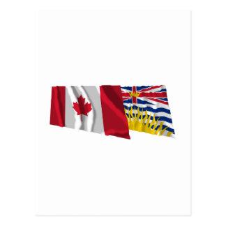 Canada & British Columbia Waving Flags Post Cards