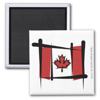 Canada Brush Flag 2 Inch Square Magnet