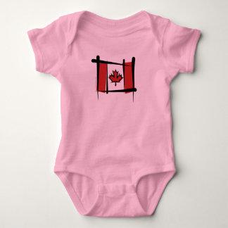 Canada Brush Flag Baby Bodysuit
