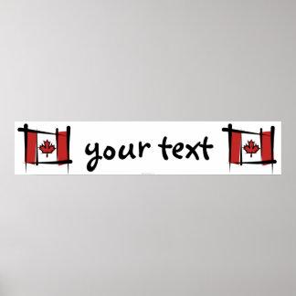 Canada Brush Flag Banner Poster