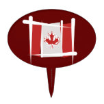Canada Brush Flag Cake Toppers