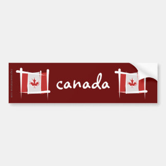 Canada Brush Flag Car Bumper Sticker