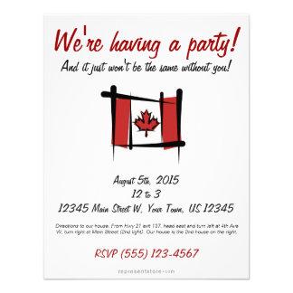 Canada Brush Flag Personalized Invitation