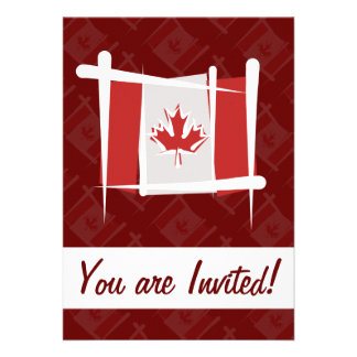 Canada Brush Flag Personalized Announcements