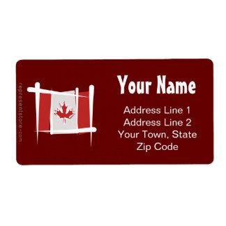 Canada Brush Flag Label