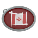 Canada Brush Flag Oval Belt Buckle