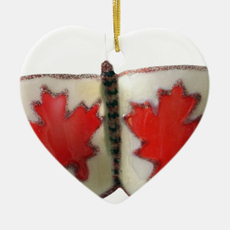 Canada Butterfly Double-Sided Heart Ceramic Christmas Ornament