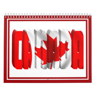 CANADA Canadian Flag Text Calendar