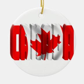CANADA Canadian Flag Text Ceramic Ornament