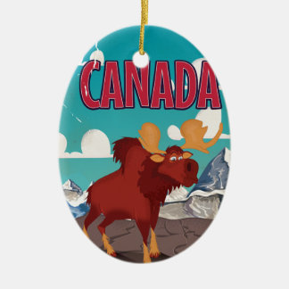 Canada Cartoon Vintage Moose Poster Ceramic Ornament