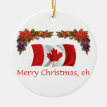 Canada Christmas Double-Sided Ceramic Round Christmas Ornament