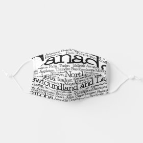 Canada Cities and Towns Word Art Cloth Face Mask