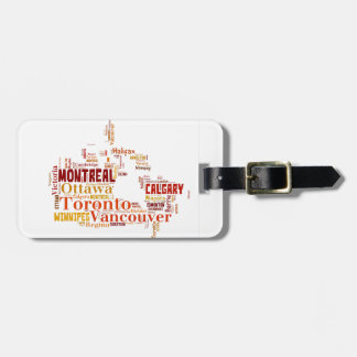 Canada Cities Word Art Luggage Tag