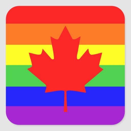 canada country gay proud rainbow flag square stickers