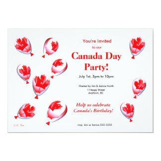 Canada Day Balloons 5x7 Paper Invitation Card
