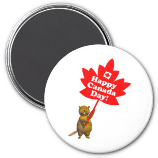 Canada Day Beaver and Maple Leaf 3 Inch Round Magnet