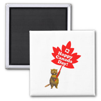 Canada Day Beaver and Maple Leaf 2 Inch Square Magnet