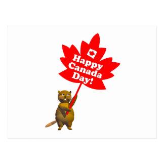 Canada Day Beaver and Maple Leaf Postcard