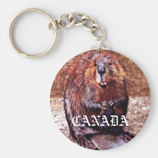 Canada Day Beaver Keychain