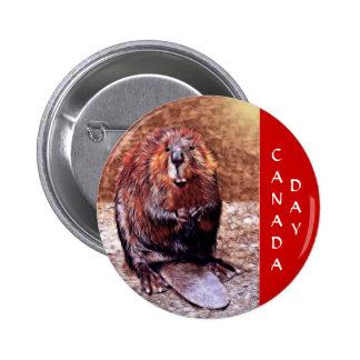 Canada Day Beaver Pinback Button