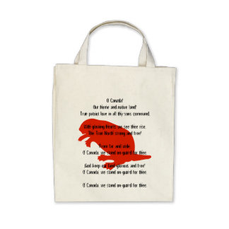 Canada Day Beaver Red Anthem Organic Tote Bag