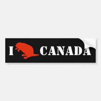 Canada Day Beaver Red Black Bumper Sticker