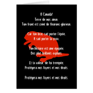 Canada Day Beaver Red Black French Anthem Card