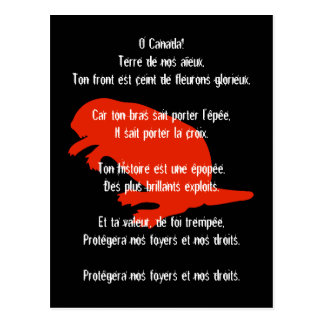 Canada Day Beaver Red Black French Anthem Postcard