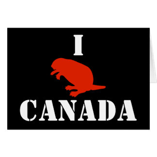Canada Day Beaver Red Black Greeting Card
