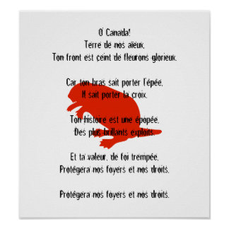 Canada Day Beaver Red French Anthem Poster 1